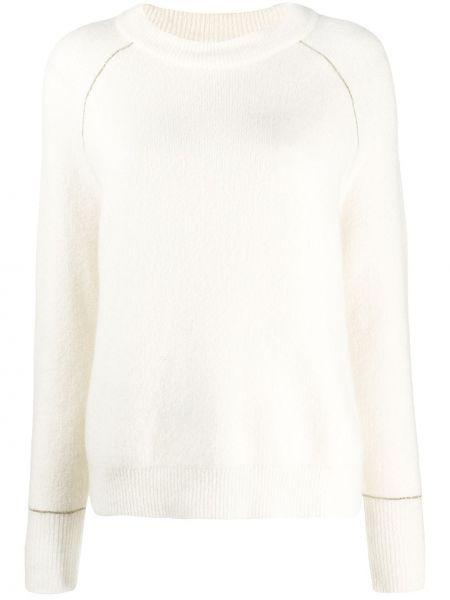 Кашемировый белый вязаный длинный свитер Max & Moi