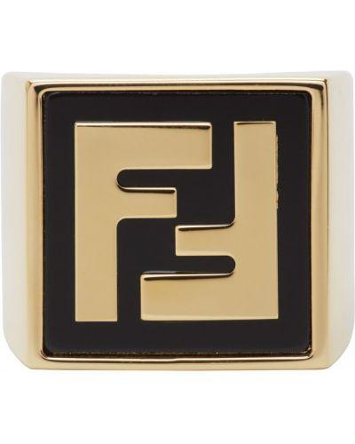 Pierścień ze złota z logo Fendi