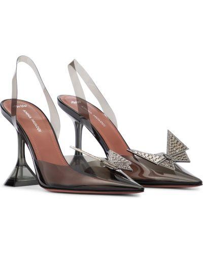 Черные туфли-лодочки с опушкой Amina Muaddi