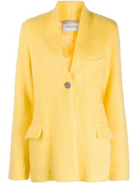 Желтый однобортный удлиненный пиджак с карманами Laneus