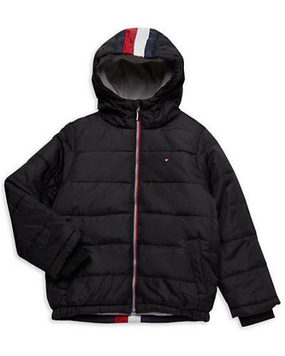 Czarna długa kurtka z kapturem w paski Tommy Hilfiger