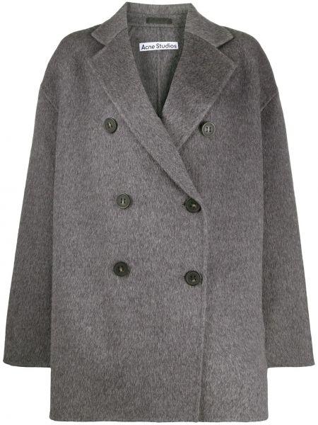 Серое длинное пальто из альпаки двубортное Acne Studios