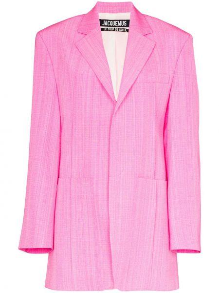 Шелковый розовый пиджак с карманами Jacquemus