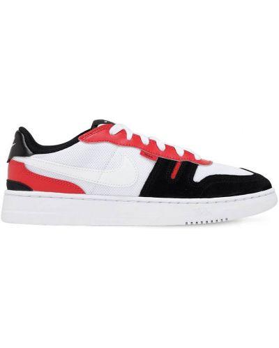 Ażurowy skórzany biały sneakersy na sznurowadłach Nike