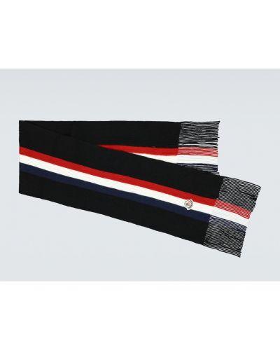 Prążkowany czarny szalik wełniany Moncler
