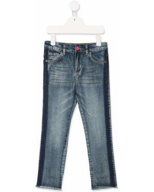 Niebieskie jeansy skorzane z paskiem Billieblush