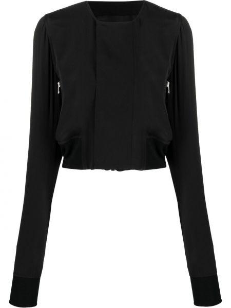 Czarna długa kurtka wełniana z długimi rękawami Rick Owens