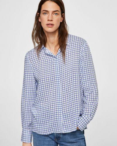 Блузка прямая в полоску в клетку с поясом Mango