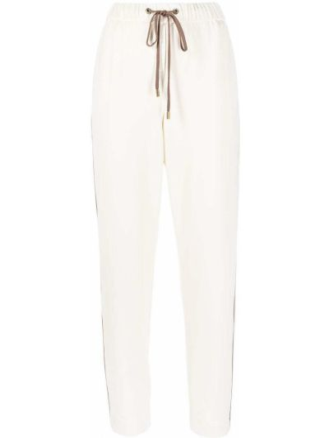 С кулиской бежевые брюки с карманами Peserico