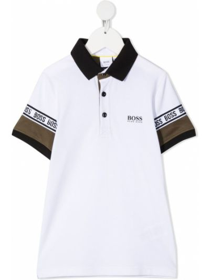Biała koszula z haftem - biała Boss Kidswear