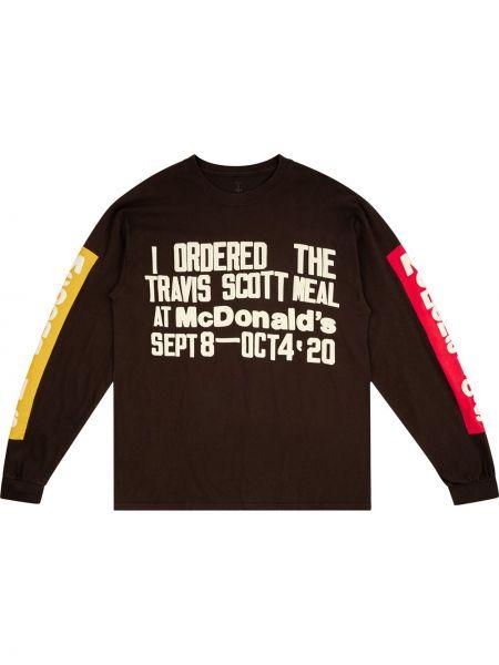 Brązowy t-shirt z długimi rękawami bawełniany Travis Scott Astroworld