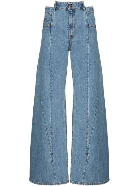 Белые с завышенной талией широкие джинсы свободного кроя на молнии Maison Margiela