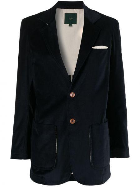 Однобортный приталенный синий классический пиджак Jejia