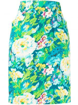 Синяя юбка на пуговицах из вискозы Kenzo Pre-owned