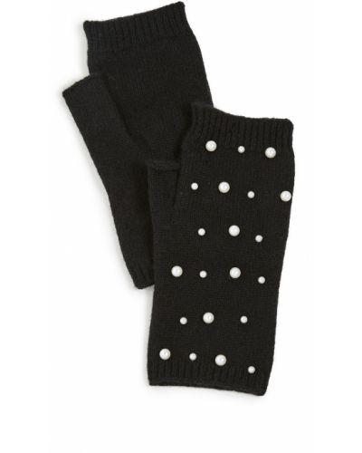 Prążkowane czarne rękawiczki bez palców wełniane Carolina Amato