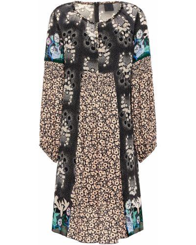 Шелковое черное платье мини на крючках Anna Sui