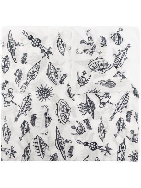 Biały szalik z printem Moschino