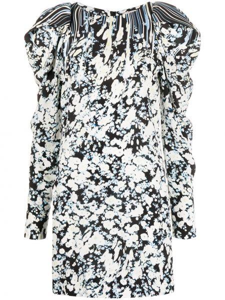 Czarna sukienka mini z długimi rękawami w kwiaty Dorothee Schumacher