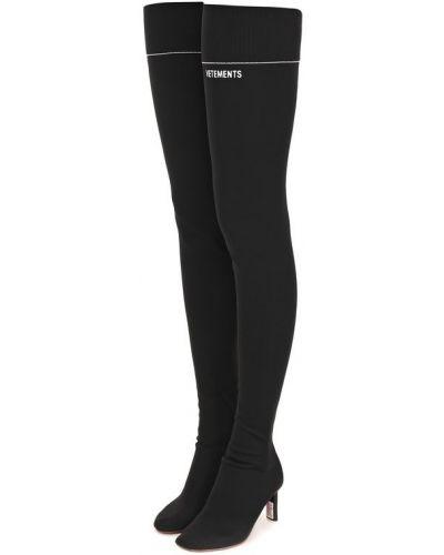 Кожаные сапоги сапоги-чулки черные Vetements