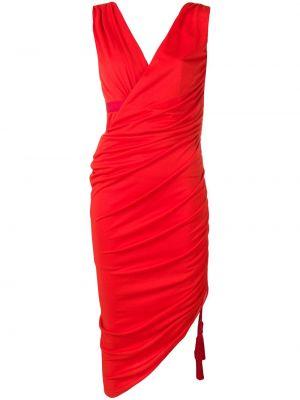 Платье миди с открытой спиной с V-образным вырезом Lanvin