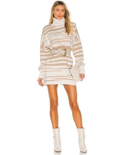 Кашемировое бежевое платье-свитер с декольте Misa Los Angeles