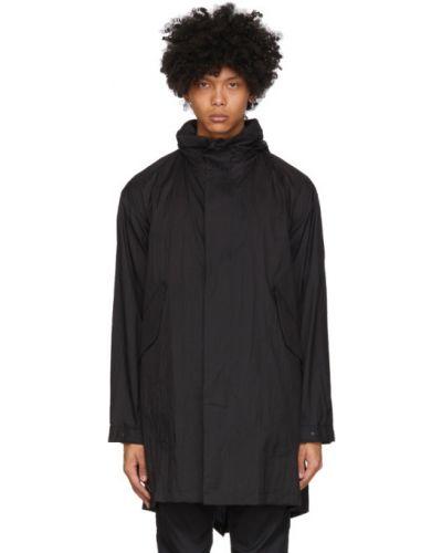 Czarny długi płaszcz z kapturem z nylonu Minotaur
