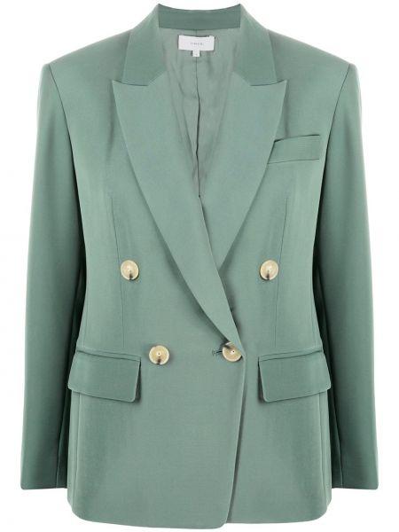 Зеленый двуспальный длинный пиджак с карманами Vince.