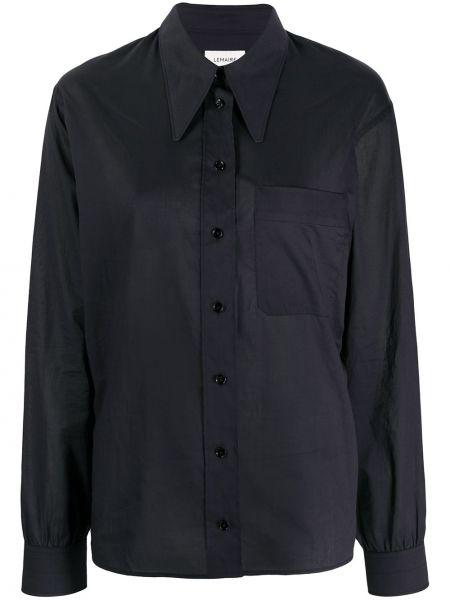 Czarny koszula z kieszeniami z kołnierzem z łatami Lemaire