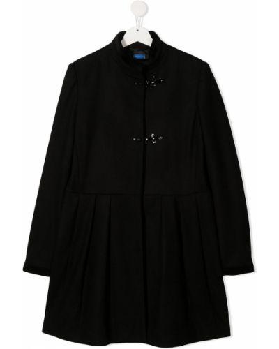 Облегающее с рукавами черное шерстяное длинное пальто Fay Kids
