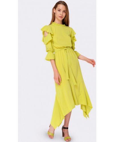 Коктейльное платье весеннее зеленый Cat Orange