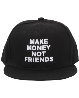 Czarny kapelusz z haftem Make Money Not Friends