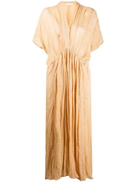 Платье мини с V-образным вырезом со складками Mes Demoiselles