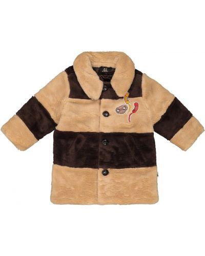 Brązowy płaszcz sztuczne futro Mini Rodini
