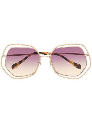 Муслиновые солнцезащитные очки хаки Miu Miu Eyewear