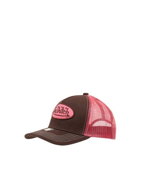 Brązowa czapka z daszkiem bawełniana Von Dutch