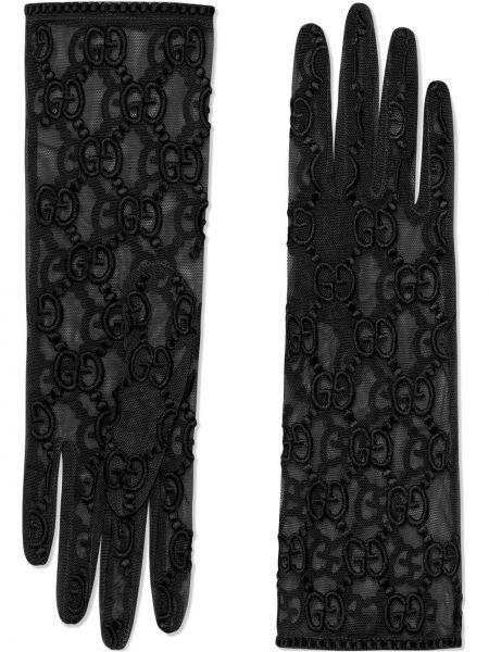 Перчатки из фатина - черные Gucci