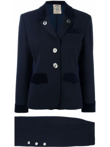 Синий костюмный вязаный юбочный костюм свободного кроя Hermès