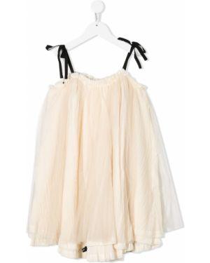 Beżowa sukienka mini tiulowa bez rękawów Little Creative Factory Kids