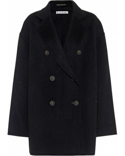 Черное шерстяное укороченное пальто Acne Studios
