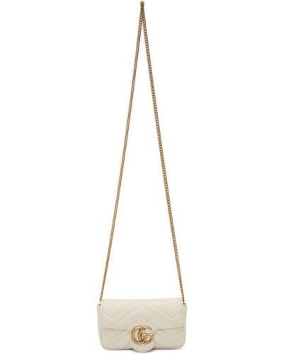 Skórzany biały torebka na łańcuszku prążkowany z łatami Gucci