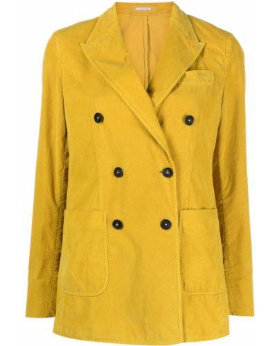 Желтый удлиненный пиджак двубортный с карманами Massimo Alba