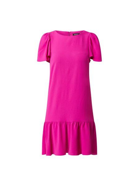 Różowa sukienka mini rozkloszowana z falbanami Dkny