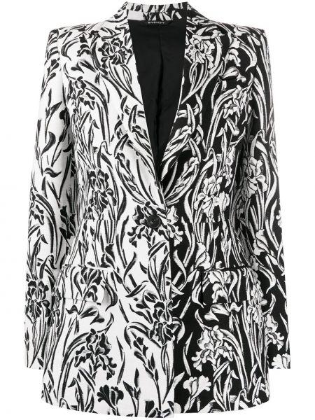 Шерстяной однобортный черный удлиненный пиджак Givenchy