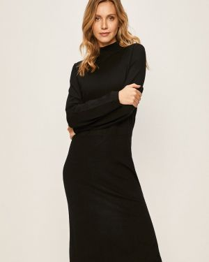 Черное прямое платье миди с вырезом Marc O'polo