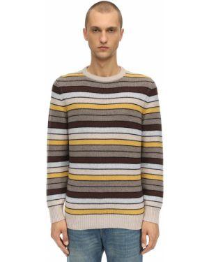 Żółty z kaszmiru sweter w paski Piacenza Cashmere