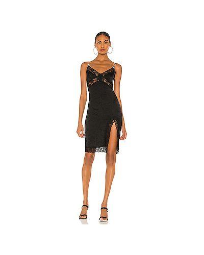 Черное платье мини на бретелях с разрезом из вискозы Versace Jeans Couture