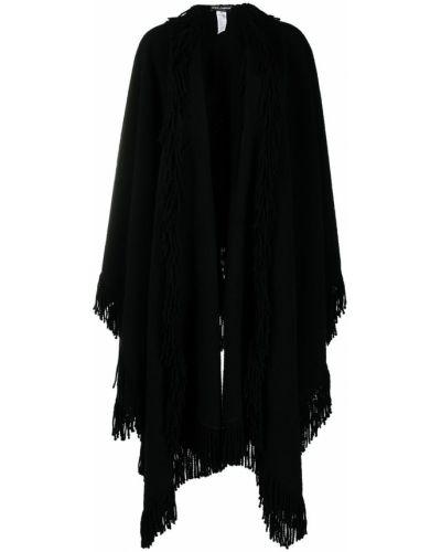 Wełniany czarny peleryna z draperią Dolce And Gabbana