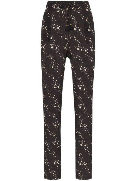Czarne spodnie z wiskozy z printem Figue