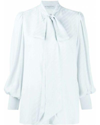 Синяя шелковая блузка с бантом Givenchy