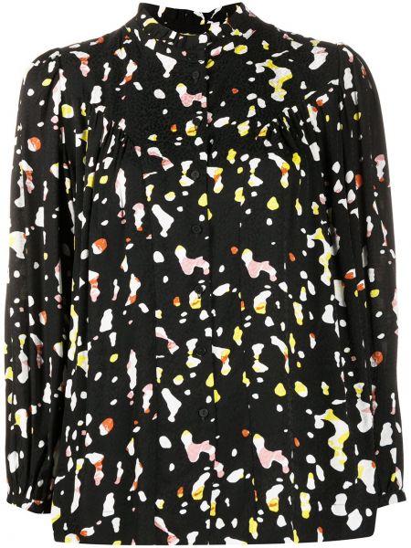 Черная блузка с длинным рукавом из вискозы с круглым вырезом круглая Ba&sh